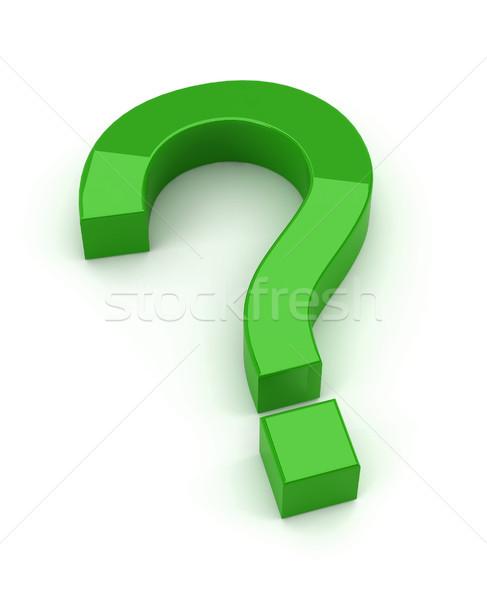 Vert question signe rendu 3d blanche affaires Photo stock © montego