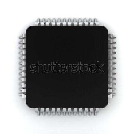 Microprocessor 3d illustration witte computer wetenschap digitale Stockfoto © montego