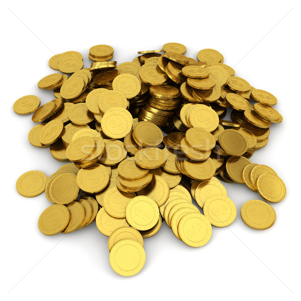 куча монетами 3d иллюстрации белый бизнеса Сток-фото © montego