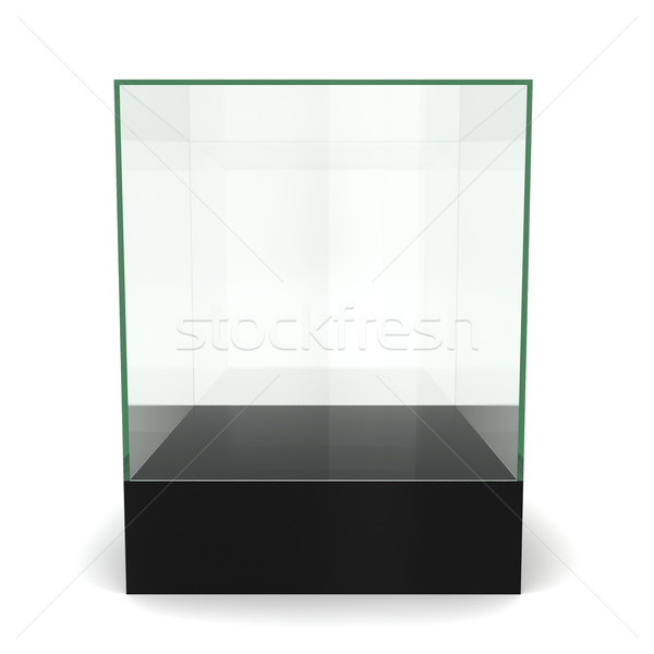 Glass cube on pedestal Stock photo © montego