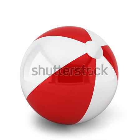 Beachball 3D-Darstellung weiß Strand Sommer Spaß Stock foto © montego