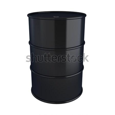 3d render of black oil barrel on white Stock photo © montego