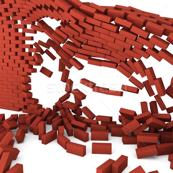 破壊された レンガの壁 3次元の図 白 壁 石 ストックフォト © montego