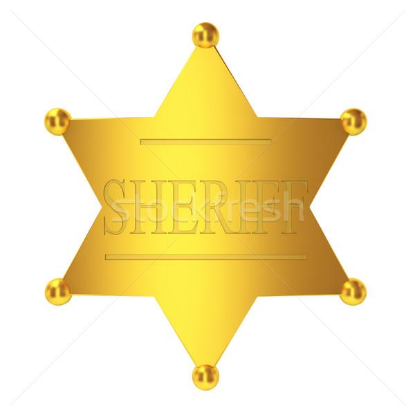 Sheriff kitűző 3d illusztráció fehér háttér biztonság Stock fotó © montego
