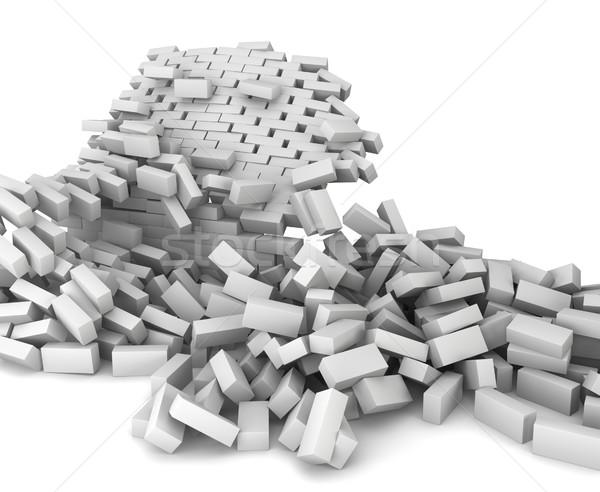 Vernietigd muur 3d illustration witte muur steen Stockfoto © montego
