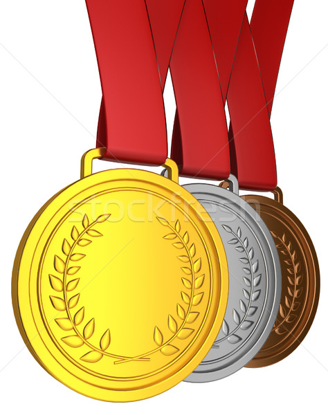 Madalya 3d illustration beyaz arka plan Metal Stok fotoğraf © montego