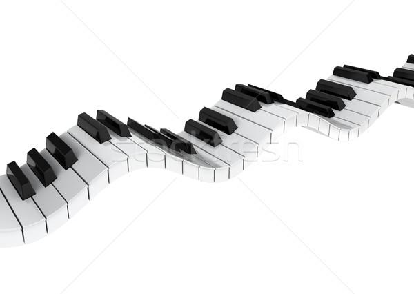 Piano toetsenbord golf 3d illustration witte zwarte Stockfoto © montego