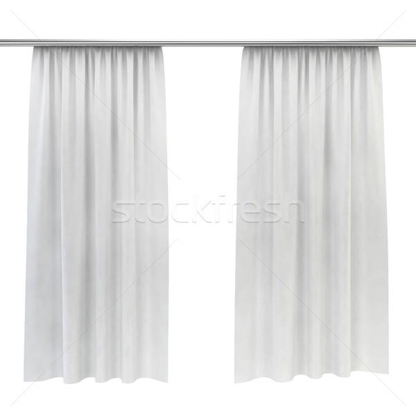 Bianco tende 3D immagine isolato muro Foto d'archivio © montego