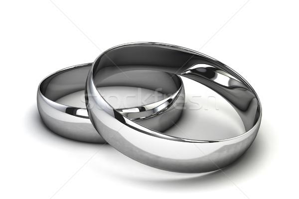 Gümüş halkalar 3d illustration yalıtılmış beyaz çift Stok fotoğraf © montego