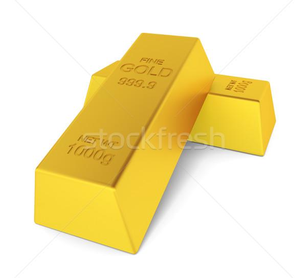 Dwa złoty 3d ilustracji biały działalności finansów Zdjęcia stock © montego