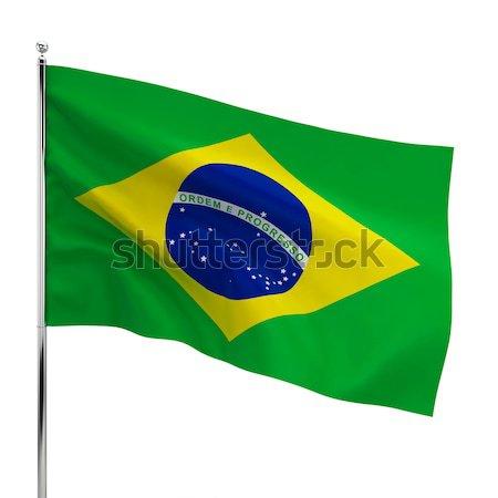 Сток-фото: Бразилия · флаг · 3d · иллюстрации · изолированный · белый · Футбол
