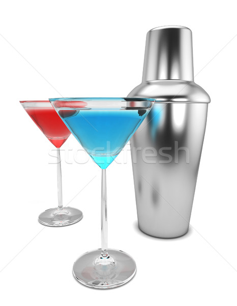 Sacudidor martini ilustração 3d isolado branco vidro Foto stock © montego