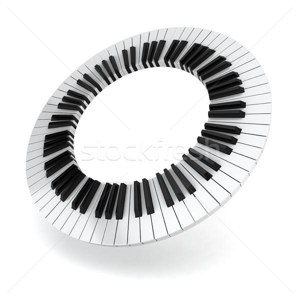 ストックフォト: ピアノ · サークル · 3次元の図 · 白 · 抽象的な · キーボード