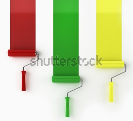 three rollers painting lines Stock photo © montego