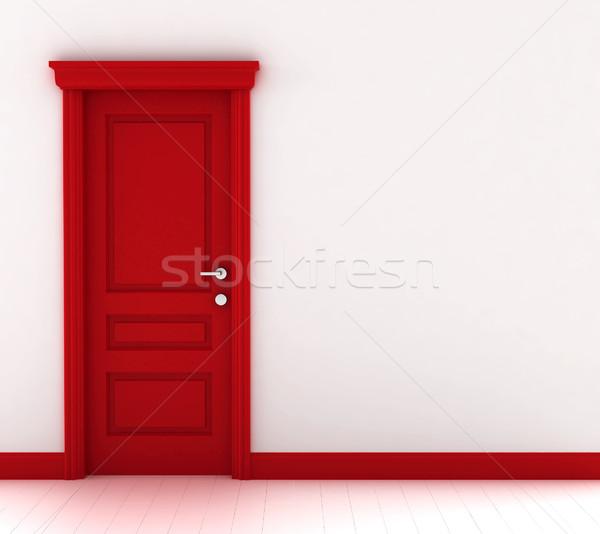 Foto d'archivio: Rosso · porta · illustrazione · 3d · bianco · muro · sfondo