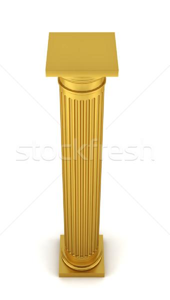 Stock fotó: Arany · oszlop · 3d · illusztráció · fehér · terv · fém
