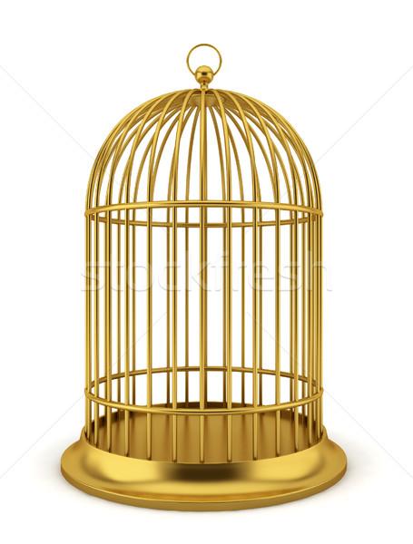 Dourado gaiola ilustração 3d branco metal segurança Foto stock © montego