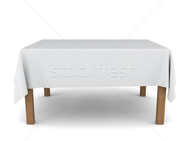 Eettafel 3d illustration witte home achtergrond interieur Stockfoto © montego