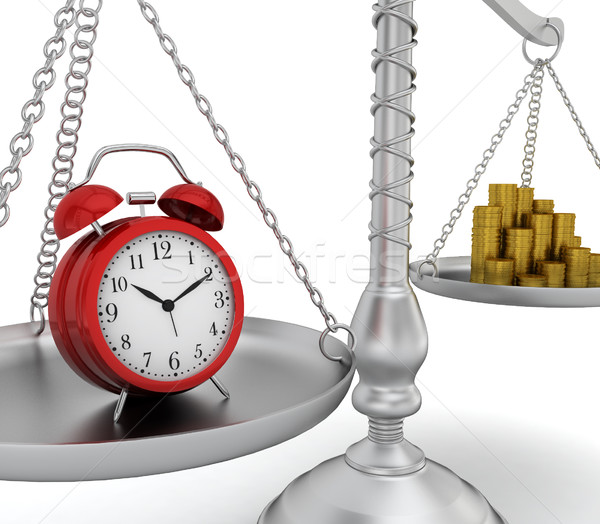 Alarm clock and coin stack on scales Stock photo © montego