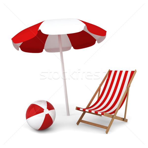 Napernyő szék labda nyári vakáció 3d illusztráció fehér Stock fotó © montego