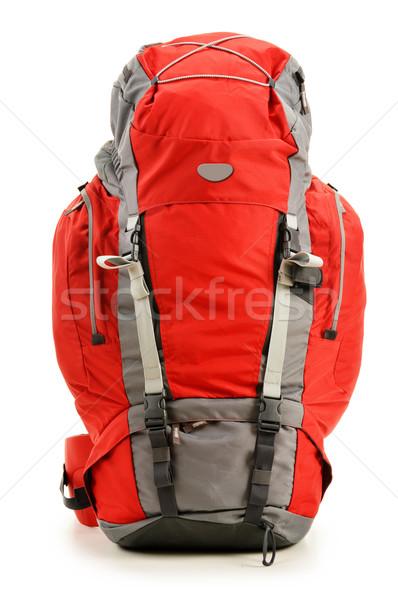 Büyük kırmızı sırt çantası yalıtılmış beyaz Stok fotoğraf © monticelllo