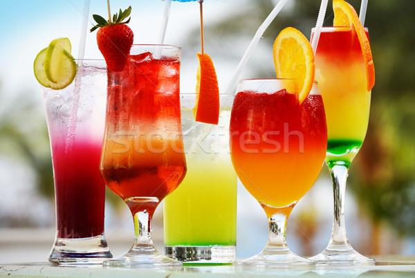 Cinquième verres boissons eau fruits orange Photo stock © monticelllo