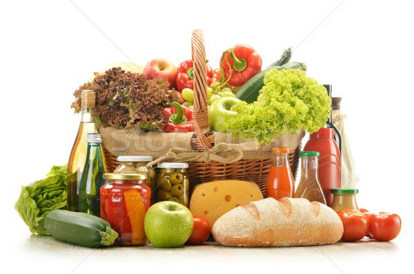 Stok fotoğraf: Bakkal · ürünleri · alışveriş · sepeti · su · şarap · meyve