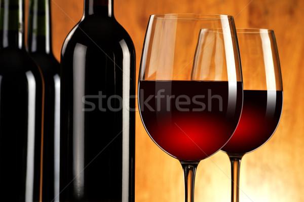 Iki şişeler şarap çift Stok fotoğraf © monticelllo