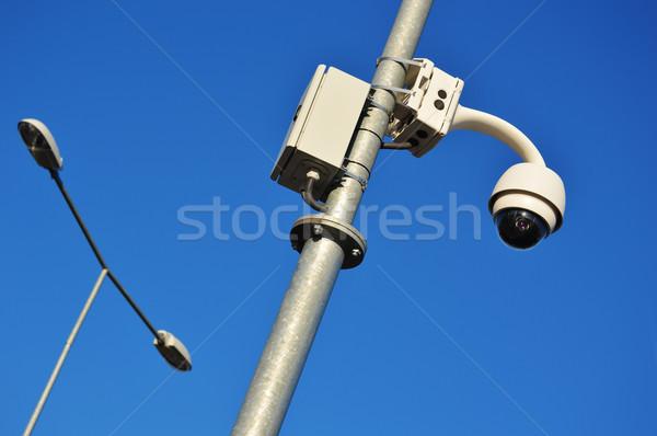 Hi-tech dome type camera over a blue sky Stock photo © monticelllo