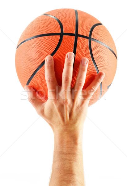 Baloncesto aislado blanco mano pelota cesta Foto stock © monticelllo