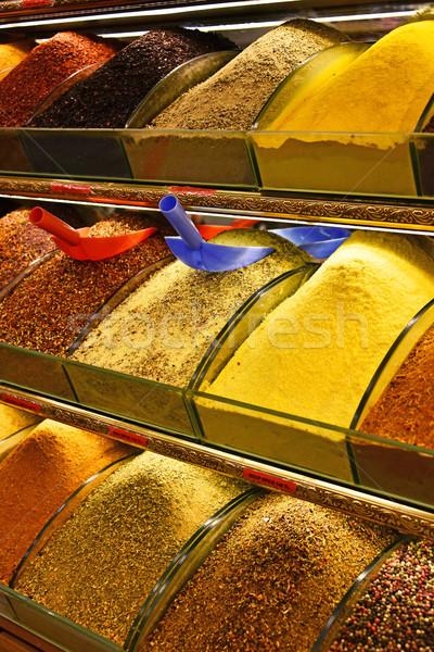 Választék fűszer bazár Isztambul vásárlás szín Stock fotó © monticelllo
