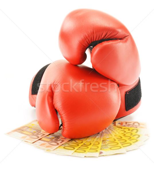 çift kırmızı deri boks eldivenleri euro Stok fotoğraf © monticelllo