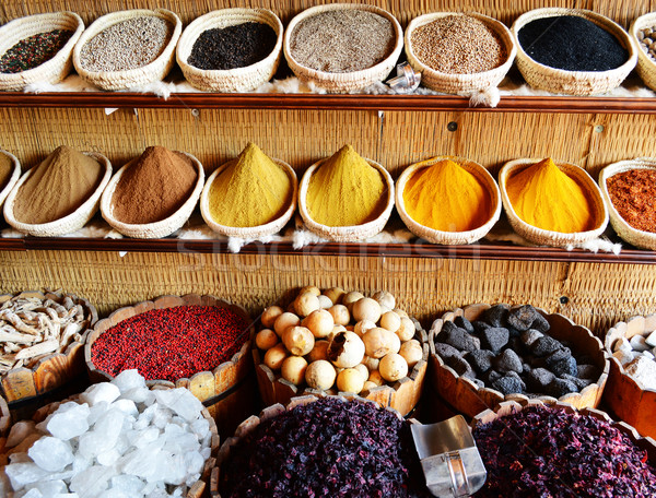 Spices in arabic store including turmeric and curry powder Stock photo © monticelllo