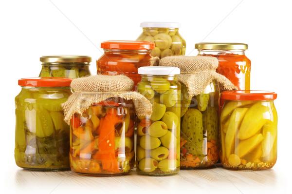 Warzyw marynowane żywności biały warzyw grzyby Zdjęcia stock © monticelllo