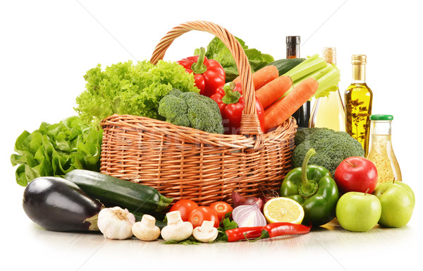raw vegetables in wicker basket isolated on white Stock photo © monticelllo