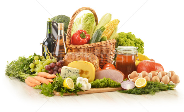 Sepet mutfak masası gıda şarap Stok fotoğraf © monticelllo