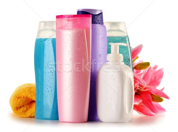 Stock fotó: Műanyag · üvegek · test · törődés · szépségipari · termékek · virág
