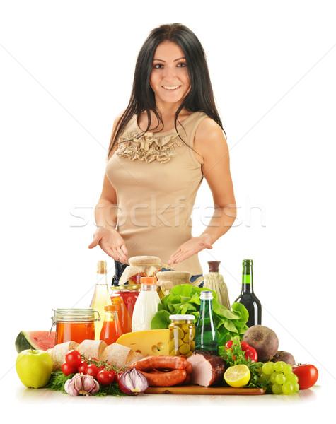 Genç kadın bakkal ürünleri sebze meyve Stok fotoğraf © monticelllo