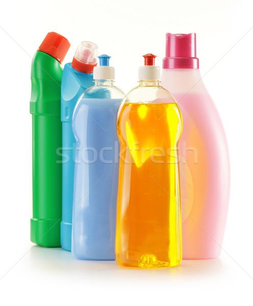 Detergente garrafas isolado branco limpeza escove Foto stock © monticelllo