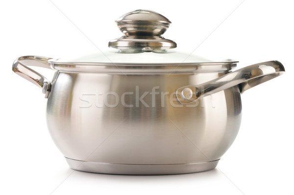 Stainless pan isolated on a white Stock photo © monticelllo