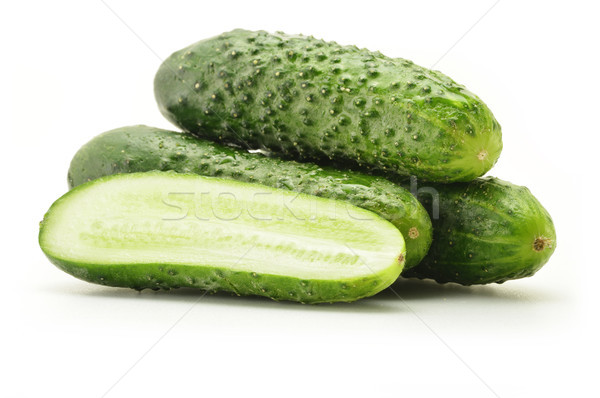 Fresh raw cucumbers isolated on white Stock photo © monticelllo