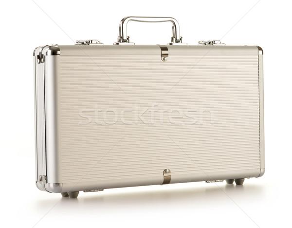Modern metallic silver briefcase isolated on white Stock photo © monticelllo