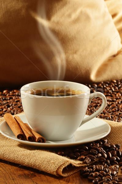 Blanco taza café mesa tejido caliente Foto stock © monticelllo