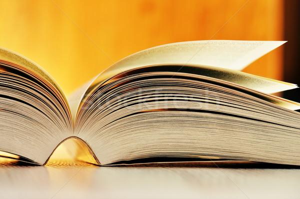 Boek tabel onderwijs schrijven wetenschap lezing Stockfoto © monticelllo