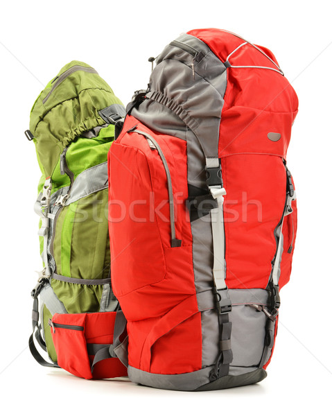 Two tourist backpacks isolated on white Stock photo © monticelllo