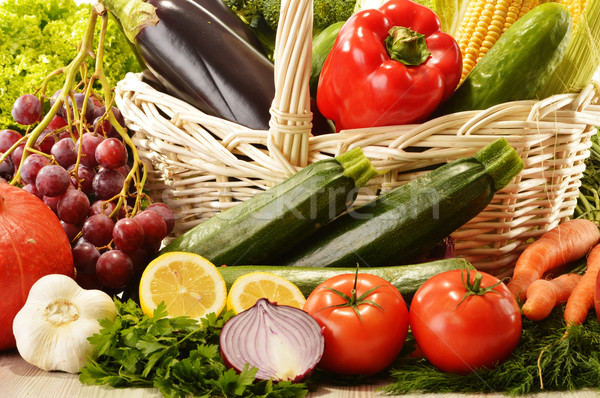 Stock photo: Fruits and vegetables in wicker basket