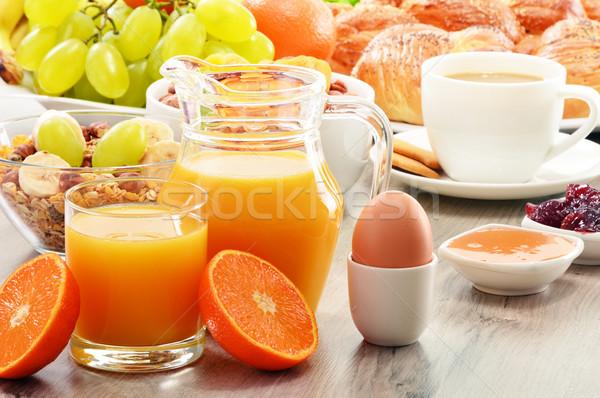 Kahvaltı kahve ekmek bal portakal suyu müsli Stok fotoğraf © monticelllo
