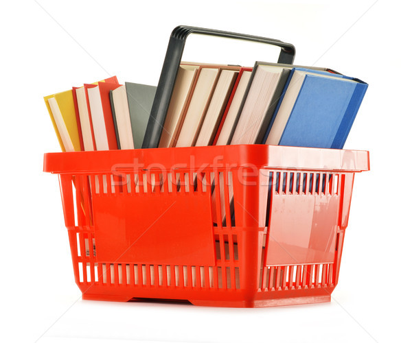 Plastic shopping basket with books isolated on white Stock photo © monticelllo
