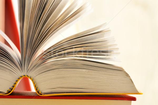 Boeken tabel school onderwijs schrijven leraar Stockfoto © monticelllo