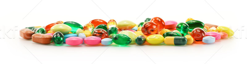 Composition with dietary supplement capsules and drug pills Stock photo © monticelllo
